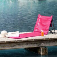 Beach mat with backrest - folding beach chair, folding beach mat, sunbathing mat - pink