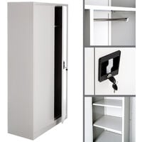 Filing cabinet with 6 drawers and rail - metal filing cabinet, office cabinet, home filing cabinet - grey