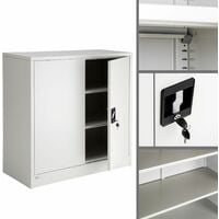 Filing cabinet with 3 compartments - metal filing cabinet, office cabinet, home filing cabinet - grey