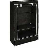 Wardrobe Kristin - canvas wardrobe, kids wardrobe, wardrobe closet - black