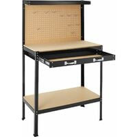 Workbench with pegboard and drawer - woodworking bench, garage workbench, wooden workbench - 81 x 41 x 145 cm - black