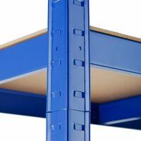 Garage shelving unit 5 tier - metal shelving, garage storage, shed shelving - 70 kg - blue