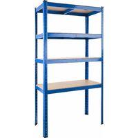 Garage shelving unit 4 tier heavy duty - metal shelving, garage storage, shed shelving - blue