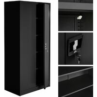 Filing cabinet with 5 shelves - metal filing cabinet, office cabinet, home filing cabinet - black