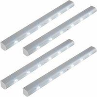 4 LED light strips with motion detector - led under cabinet lighting, led kitchen lighting, led light bar - grey
