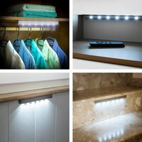 2 LED light strips with motion detector - led under cabinet lighting, led kitchen lighting, led light bar - grey