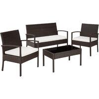 Rattan garden furniture set Sparta 3+1 - garden tables and chairs, garden furniture set, outdoor table and chairs - black/brown