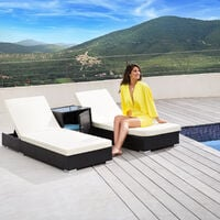 2 sunloungers + table with protective cover rattan aluminium - reclining sun lounger, garden lounge chair, sun chair - brown
