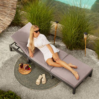 Sun lounger Sofia rattan - reclining sun lounger, garden lounge chair, sun chair - brown