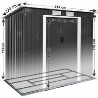 Shed with slanted roof - garden shed, metal shed, tool shed - grey