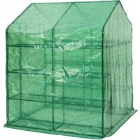 Greenhouse with tarpaulin and shelving - small greenhouse, walk in greenhouse, garden greenhouse - green