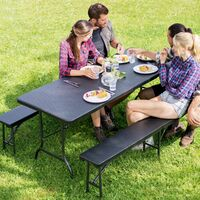 Folding table with benches in a rattan look - camping table, trestle table, folding table and chairs - black