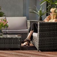 Rattan garden furniture lounge Siena - garden sofa, garden corner sofa, rattan sofa - grey