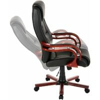 Office chair with real wood armrests - desk chair, computer chair, ergonomic chair - black