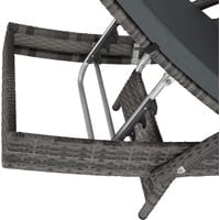 Sun lounger Océane rattan - reclining sun lounger, garden lounge chair, sun chair - grey