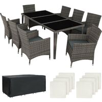 Rattan garden furniture set Monaco aluminium with protective cover - garden tables and chairs, garden furniture set, outdoor table and chairs - grey