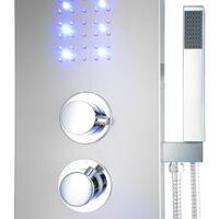 Shower panel, LED Waterfall - shower tower, shower column, shower wall panel - grey