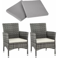 2 garden chairs rattan + 4 seat covers model 1 - outdoor chairs, rattan garden chairs, garden seating - grey