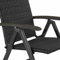Foldable rattan garden chair Melbourne - outdoor seating, garden seating, rattan chair - black