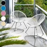 Set of 2 Gabriella chairs - garden chairs, egg chairs, bedroom chairs - black