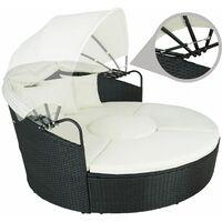 Rattan sun lounger island aluminium - garden lounge chair, sun chair, double sun lounger - black