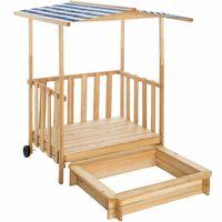 Sandpit with play deck and canopy Gretchen - kids sandpit, wooden sandpit, childrens sandpit - blue