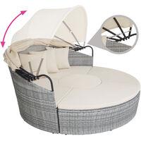 Rattan sun lounger island Santorini - garden lounge chair, sun chair, double sun lounger - light grey