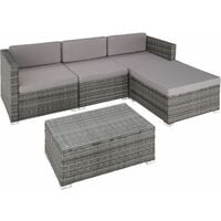 Rattan garden furniture set lounge Florence - garden sofa, garden corner sofa, rattan sofa - grey