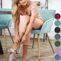Chair Marilyn with armrests and gold legs - office chair, desk chair, dining chair - pink/gold