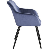 Chair Marilyn with armrests - office chair, desk chair, dining chair - blue/black