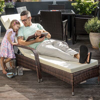 Sun lounger Biarritz rattan aluminium - reclining sun lounger, garden lounge chair, sun chair - light grey
