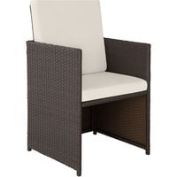 Rattan garden furniture set Bilbao 4+4+1 with protective cover - garden tables and chairs, garden furniture set, outdoor table and chairs - antique brown