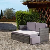 Rattan sofa Corfu - garden sofa, outdoor sofa, garden sofa set - light grey