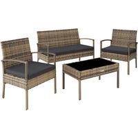 Rattan garden furniture set Sparta 3+1 - garden tables and chairs, garden furniture set, outdoor table and chairs - nature