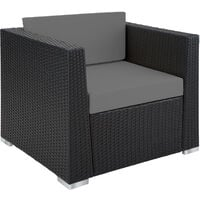 Rattan garden furniture set Munich - garden sofa, rattan sofa, garden sofa set - black