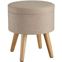 Stool Yumi with storage in linen look - dressing table chair, dressing table stool, kitchen stool - sand