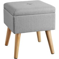 Stool Elva in upholstered linen look with storage space - 300kg capacity - bar stool, dressing table chair, dressing table stool - light grey