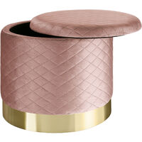 Stool Coco upholstered in velvet look with storage space - 300kg capacity - bar stool, dressing table chair, dressing table stool - rose