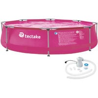 Swimming pool round with pump - outdoor swimming pool, outdoor pool, garden pool - Ø 300 x 76 cm - pink