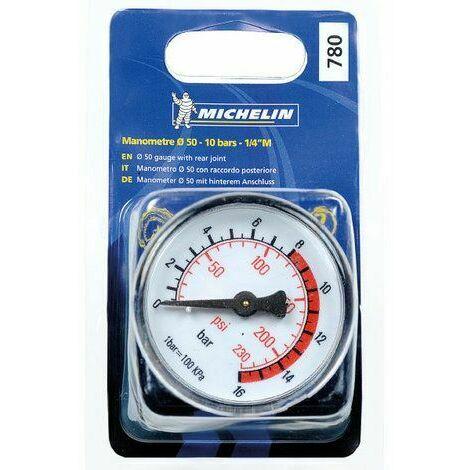 MICHELIN Manomètre diamètre 50 1/4 Mâle 10 Bars pour compresseur d'air