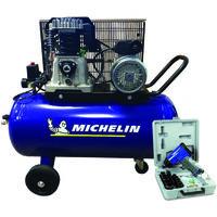 MICHELIN Compresseur 100 litres à gros débit d'air avec coffret clé à choc