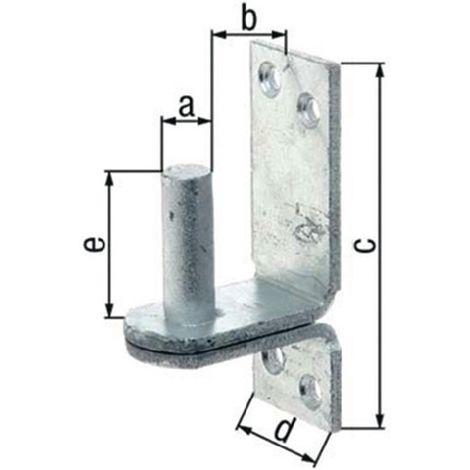 Kloben auf Platte Ø20x35x189x60x60mm Stahl roh feuerZN DII-Haken GAH