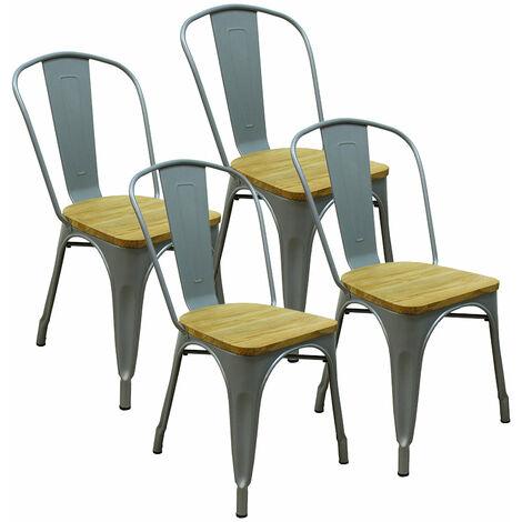 Lot de 4 chaises d'intérieur GASTON gris métal assise en bois