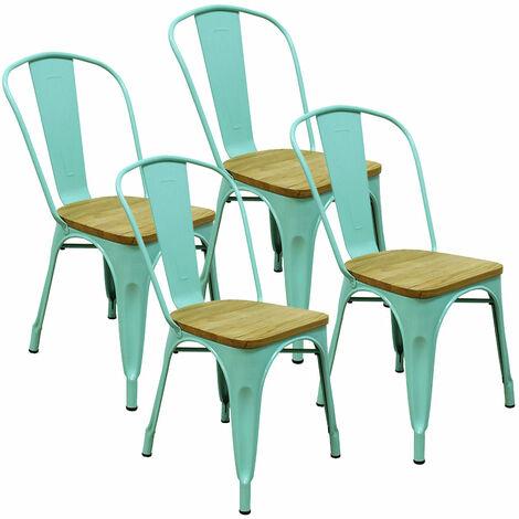 Lot de 4 chaises d'intérieur GASTON vert métal assise en bois