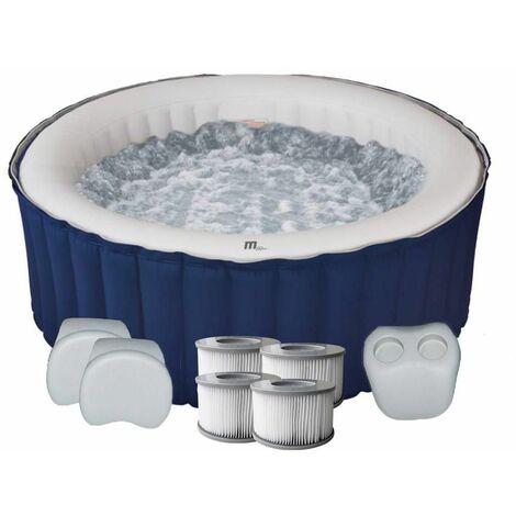Spa gonflable jacuzzi rond bleu 4 places LR04-NA Lite + 2 appuis-tête + 1 porte gobelet + 4 filtres supplémentaires Mspa