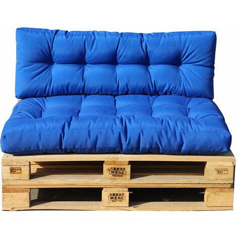 Set 2 coussins palette d'extérieur RIOU bleu