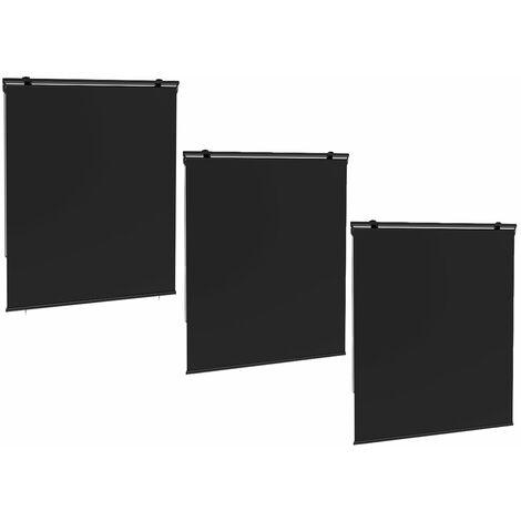 Lot de 3 stores enrouleur d'extérieur HOUSTON gris polyester 120x225cm