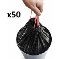 Lot de 50 sacs poubelles noir plastique 50L