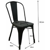 Lot de 4 chaises d'intérieur GASTON noir métal assise en bois