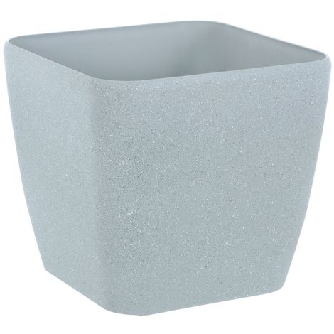Sand Stone Effect Square Plant Pot Grey 26cm